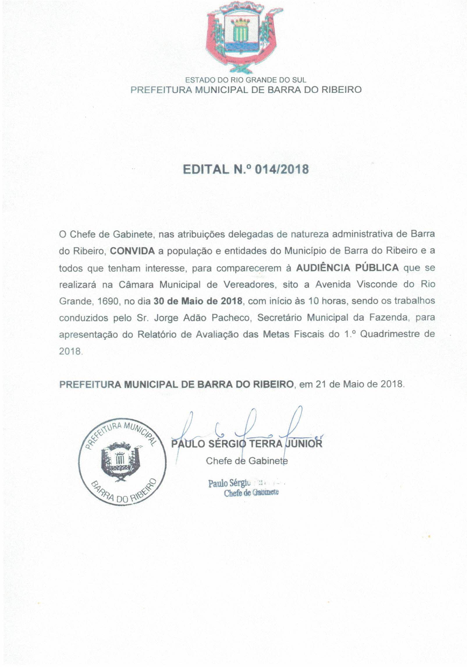 Audiência Publica  da Mestas Fiscais do 1º Quadrimestre de 2018